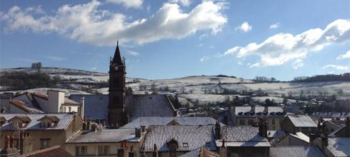 Chutes de neige et état des routes dans le Cantal
