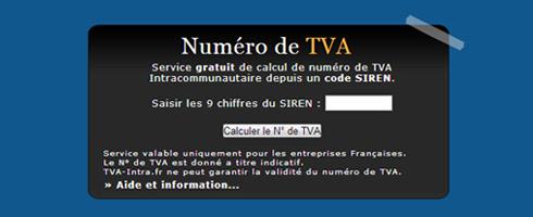 Calcul numéro TVA Intra avec SIREN