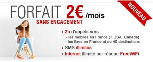 Forfait 2€ Free Mobile