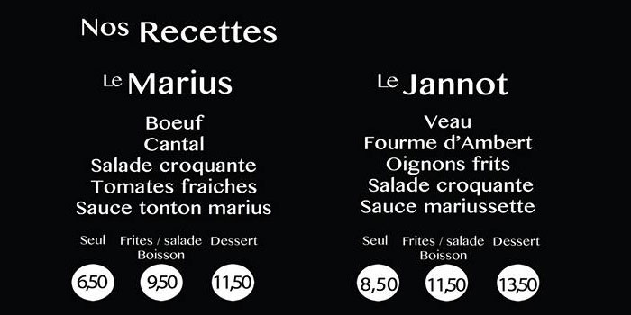 Carte burger Little Marius