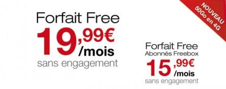 Free Mobile : un forfait avec 50Go d'internet 4G