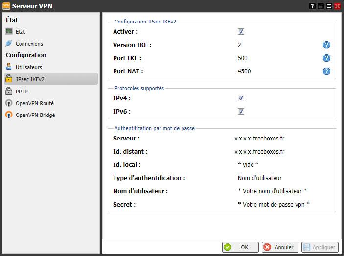 Config IPsec IKEv2 VPN Freebox